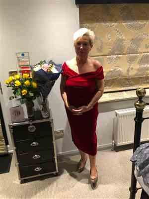 Susie Findlater verified customer review of Red Velour Cap Sleeve Crossover Top Bardot Wiggle Dress